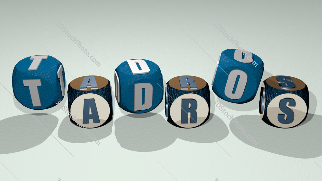 Tadros text by dancing dice letters