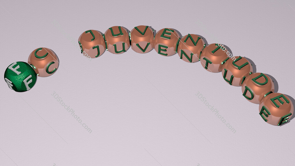 FC Juventude curved text of cubic dice letters