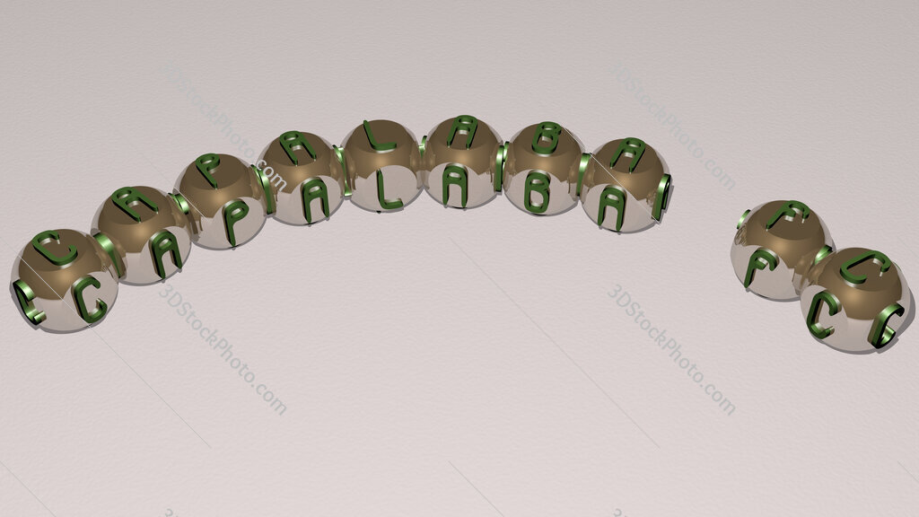 Capalaba FC curved text of cubic dice letters