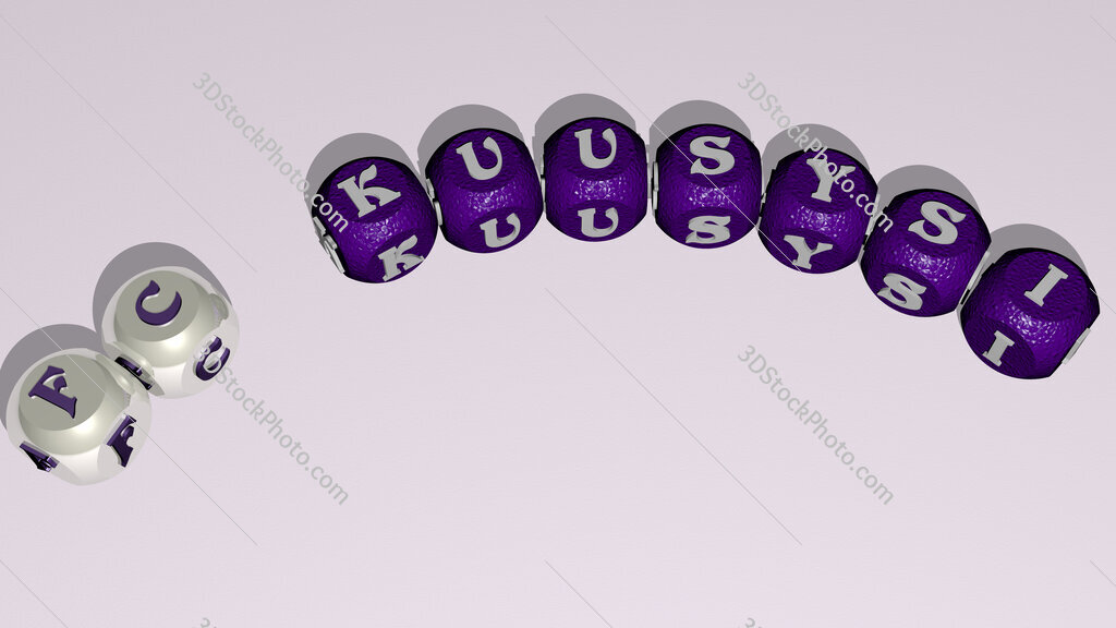 FC Kuusysi curved text of cubic dice letters