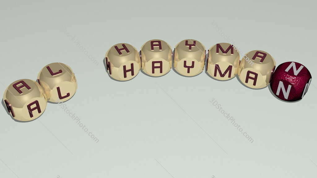 Al Hayman curved text of cubic dice letters