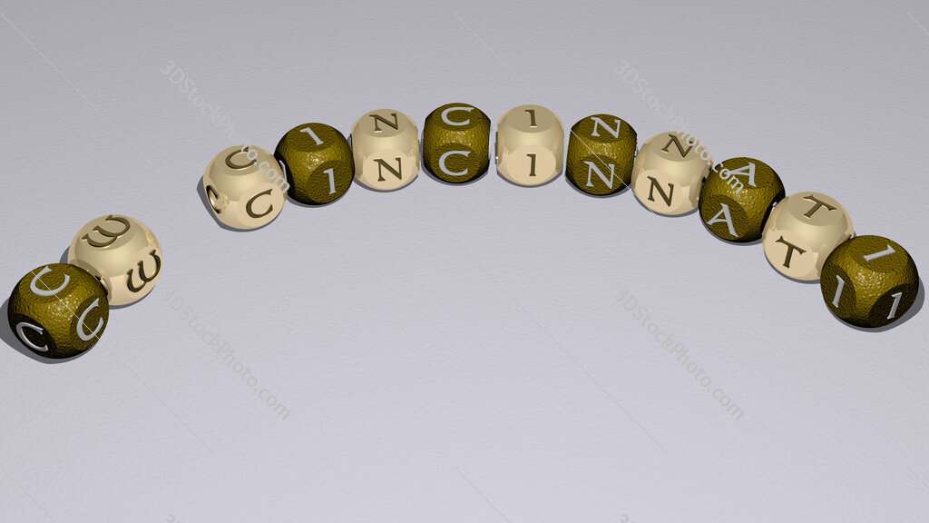 CW Cincinnati curved text of cubic dice letters