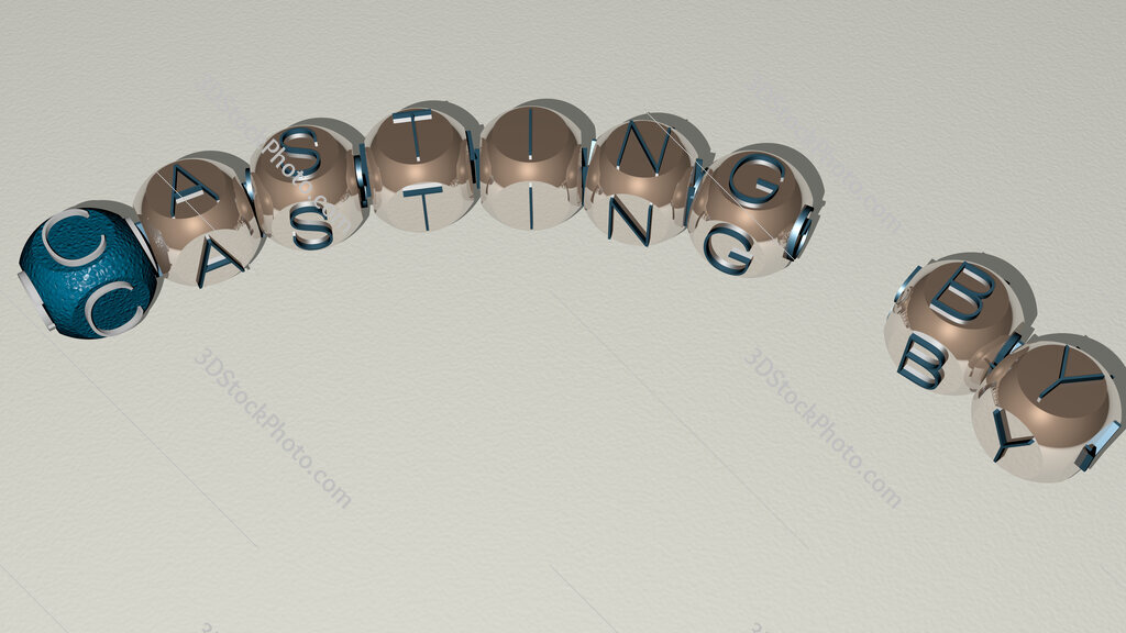 Casting By curved text of cubic dice letters