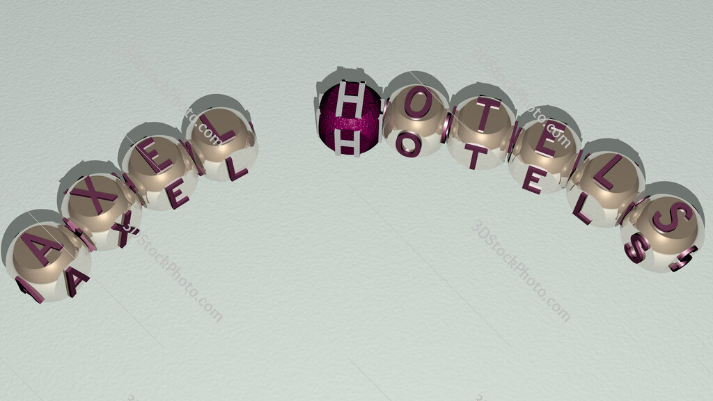 Axel Hotels curved text of cubic dice letters