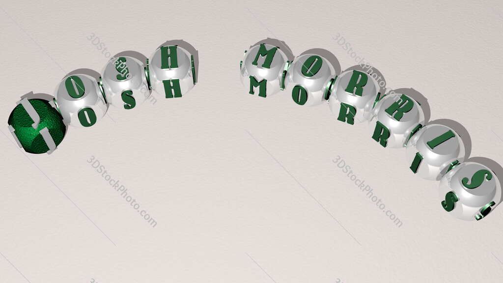 Josh Morris curved text of cubic dice letters