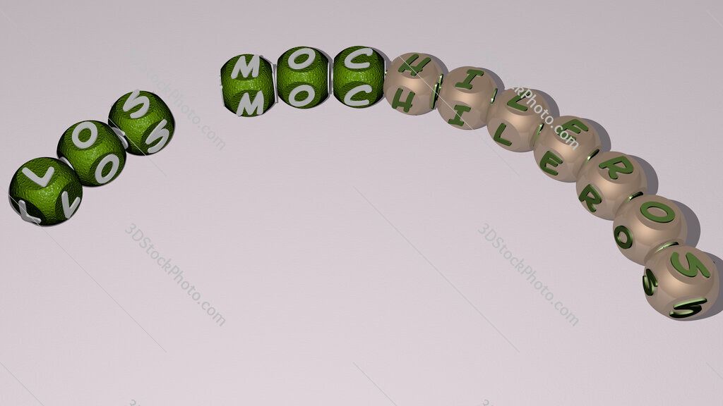 Los Mochileros curved text of cubic dice letters