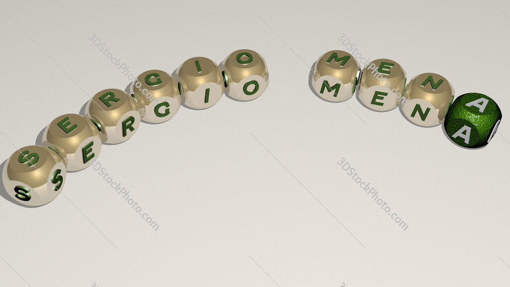Sergio Mena curved text of cubic dice letters