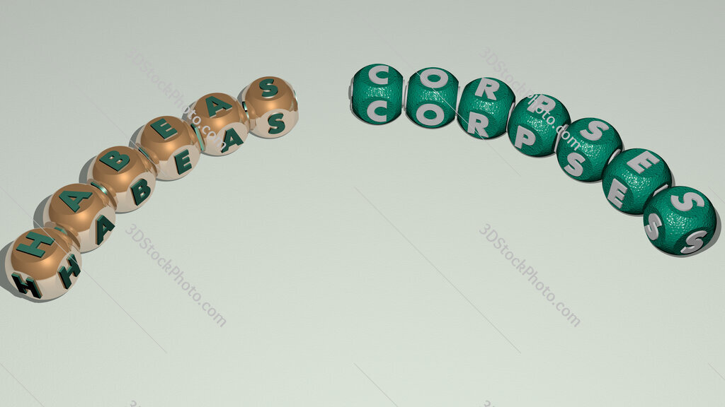 Habeas Corpses curved text of cubic dice letters