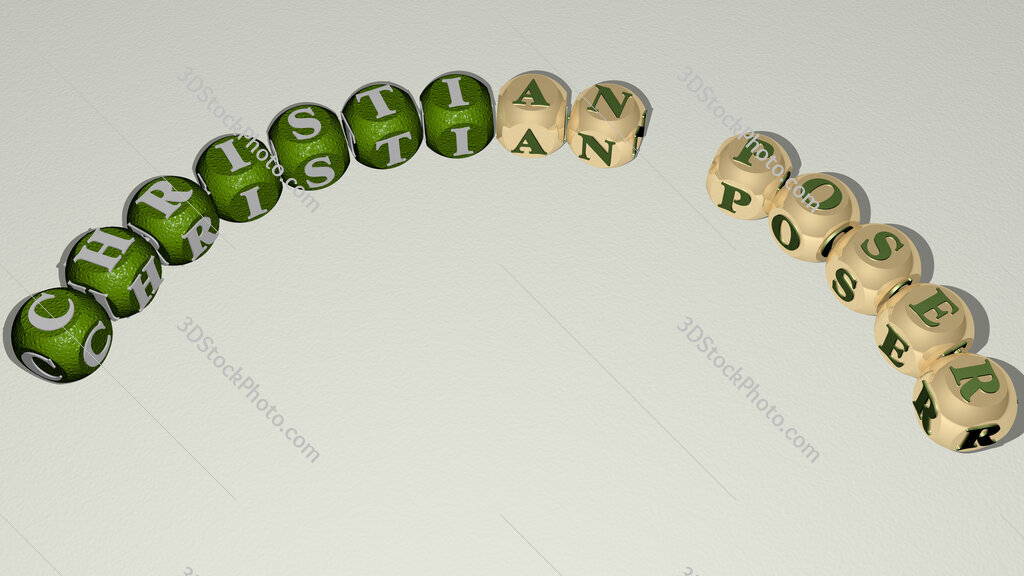 Christian Poser curved text of cubic dice letters
