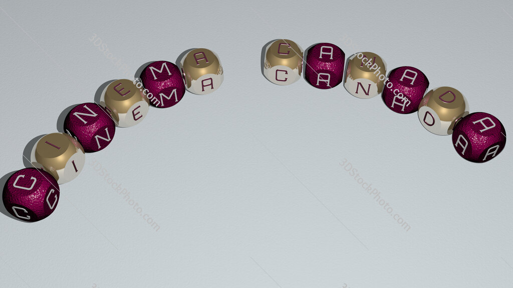 Cinema Canada curved text of cubic dice letters