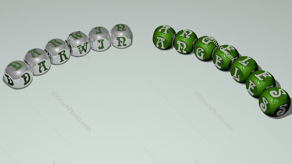 Darwin Angeles curved text of cubic dice letters