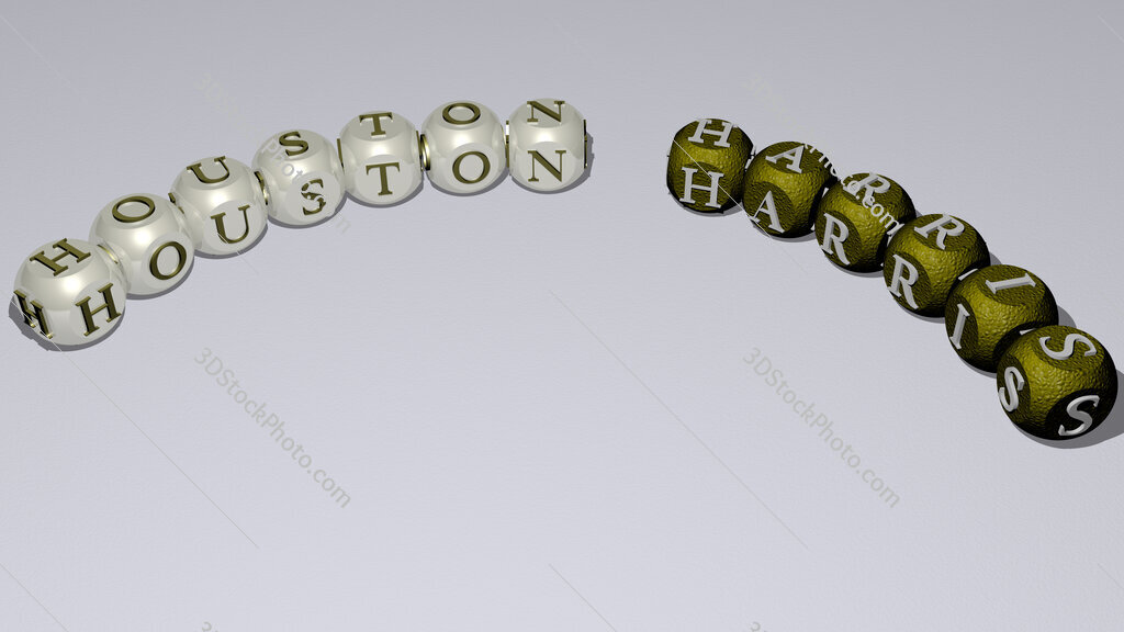Houston Harris curved text of cubic dice letters