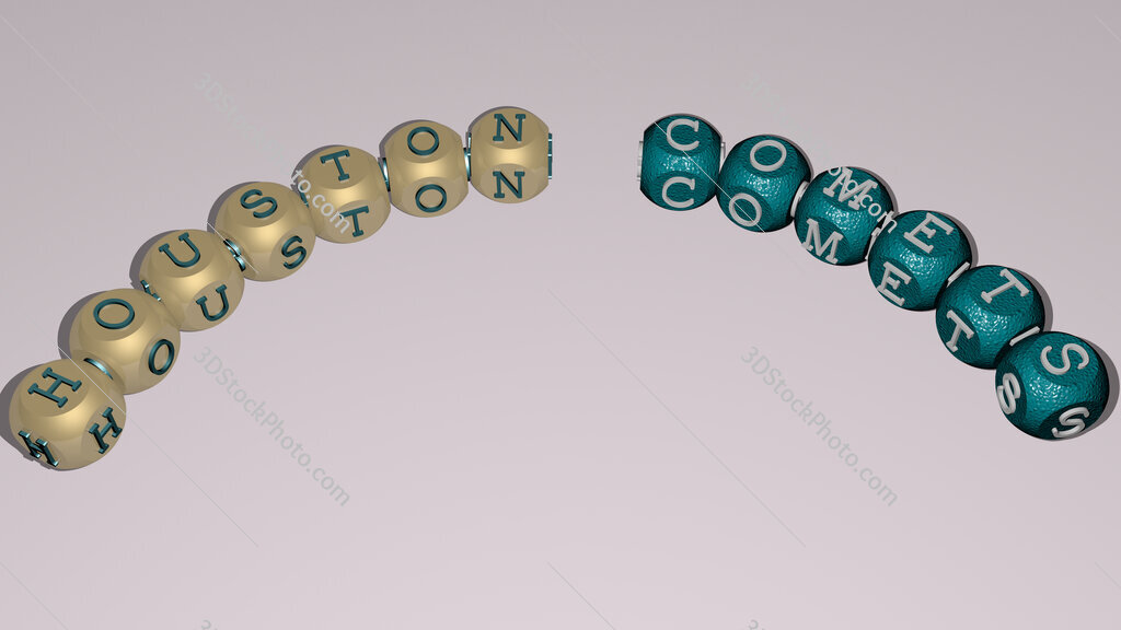 Houston Comets curved text of cubic dice letters