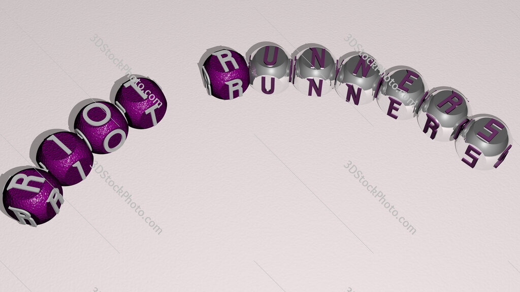 Riot Runners curved text of cubic dice letters