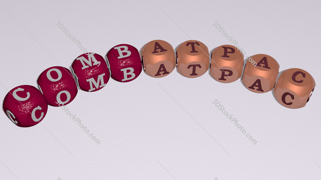 ComBatPac curved text of cubic dice letters