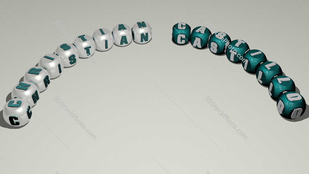 Christian Castillo curved text of cubic dice letters