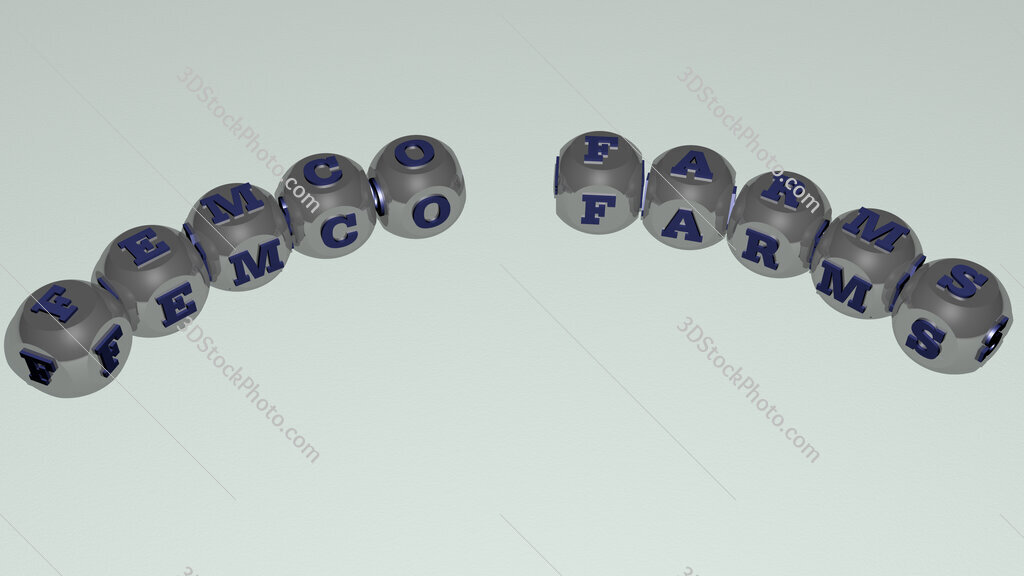 Femco Farms curved text of cubic dice letters