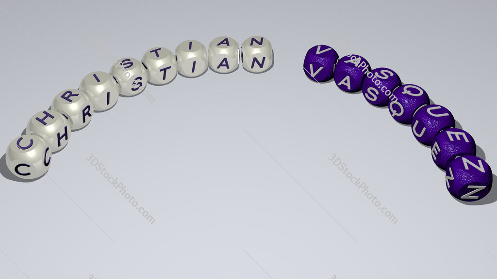 Christian Vasquez curved text of cubic dice letters