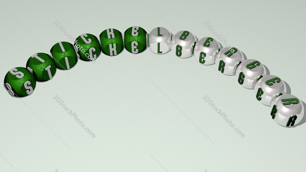 Stickelberger curved text of cubic dice letters