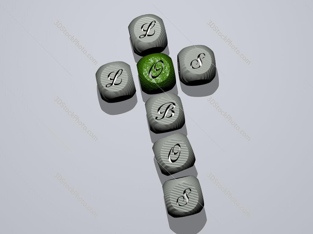 Los Lobos crossword of dice letters in color