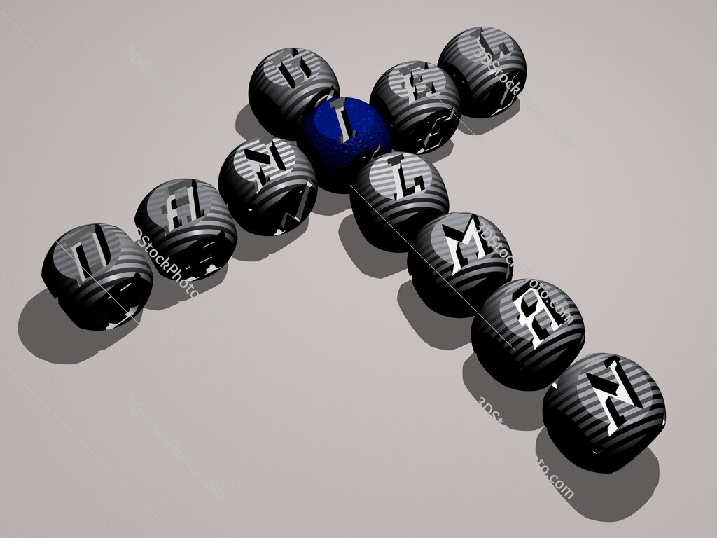 Daniel Gilman crossword of dice letters in color