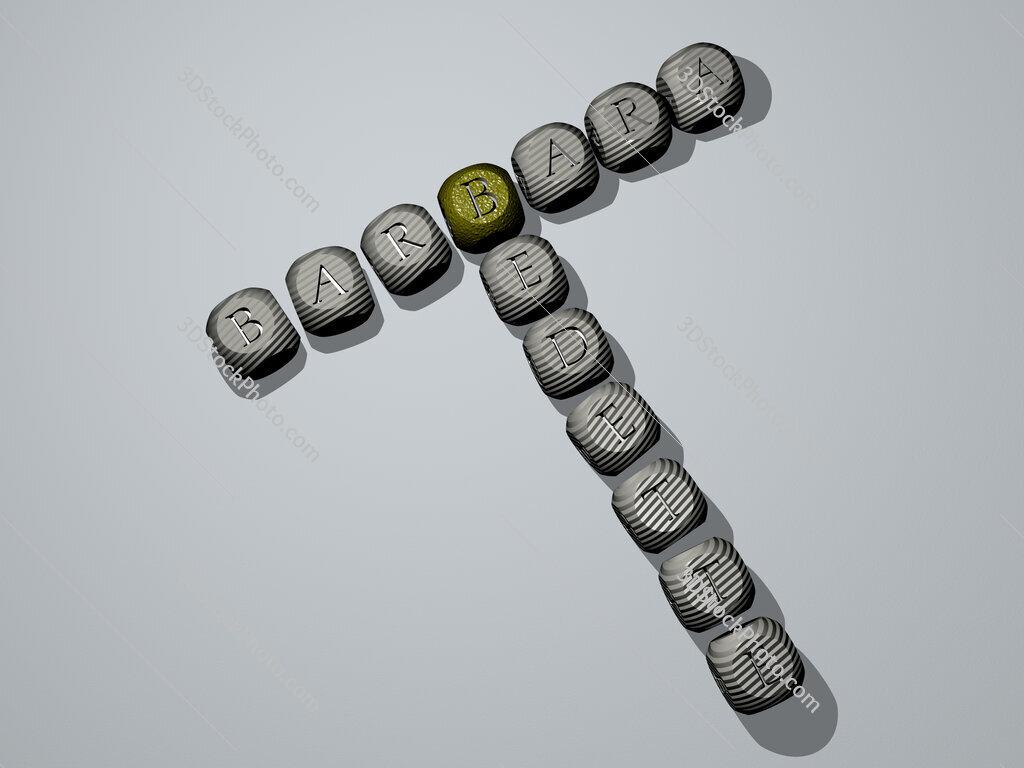 Barbara Bedette crossword of dice letters in color