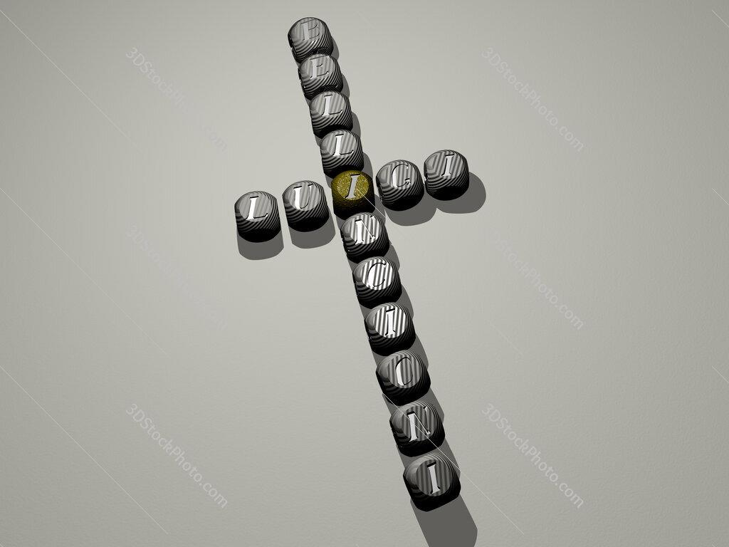 Luigi Bellincioni crossword of dice letters in color