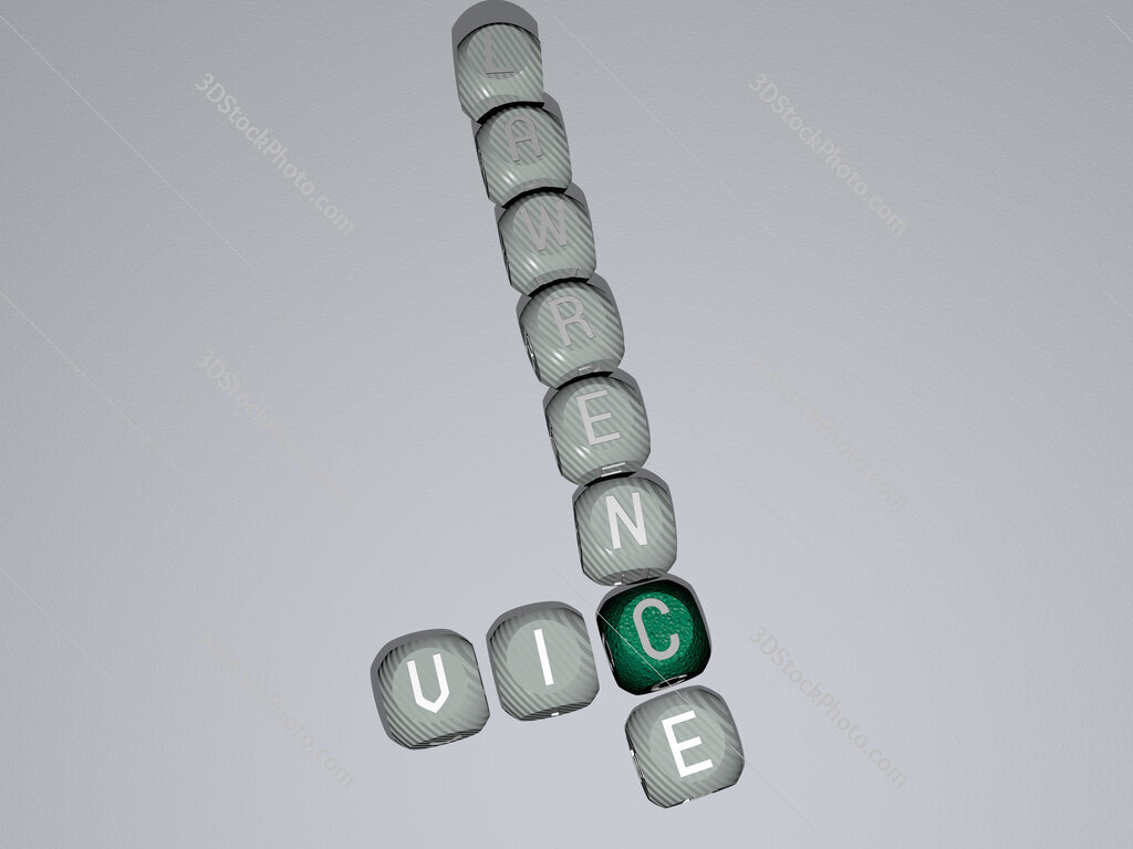 Vic Lawrence crossword of dice letters in color