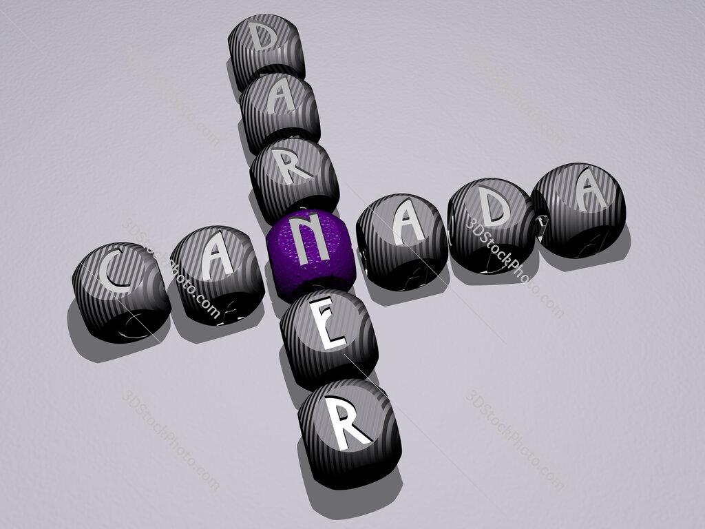 Canada Darner crossword of dice letters in color