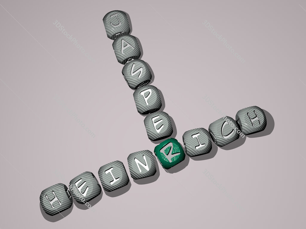 Heinrich Jasper crossword of dice letters in color