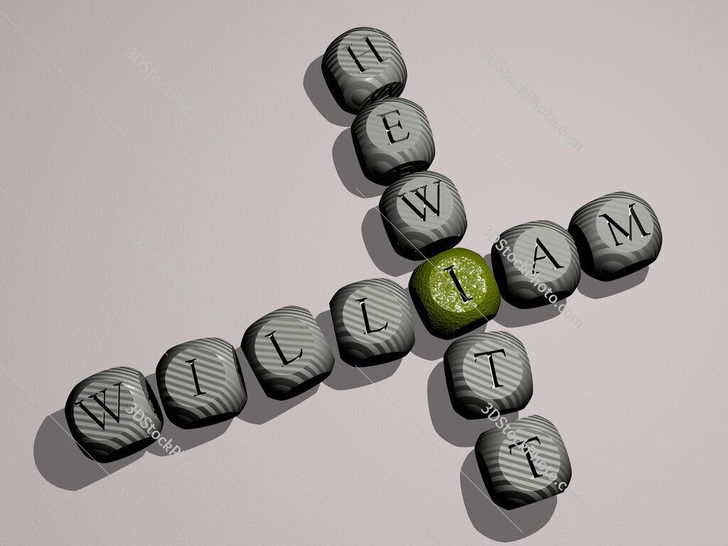 William Hewitt crossword of dice letters in color
