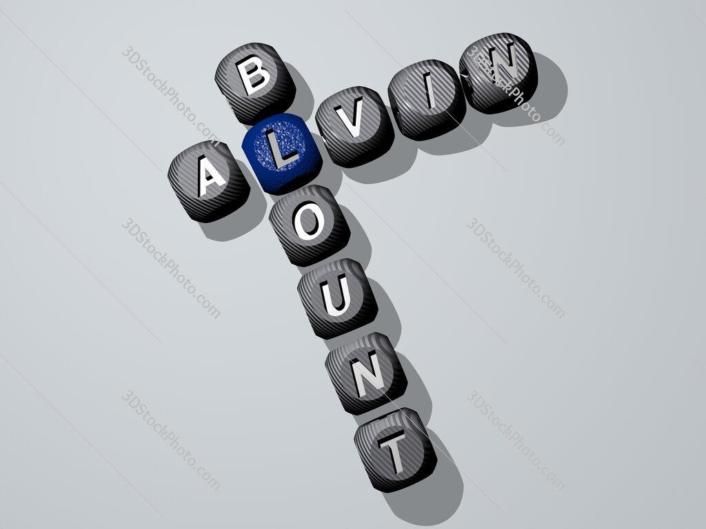 Alvin Blount crossword of dice letters in color