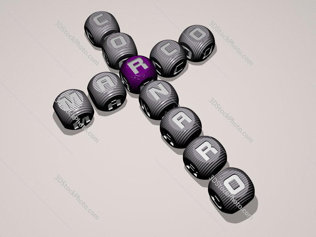 Marco Cornaro crossword of dice letters in color