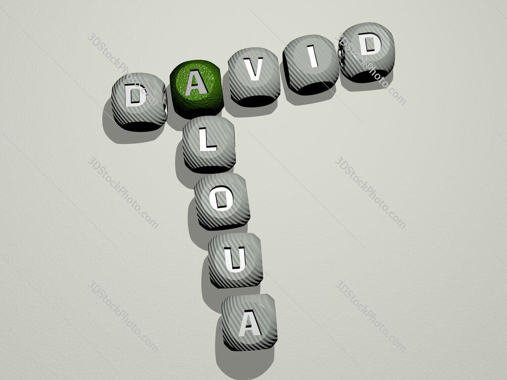 David Aloua crossword of dice letters in color