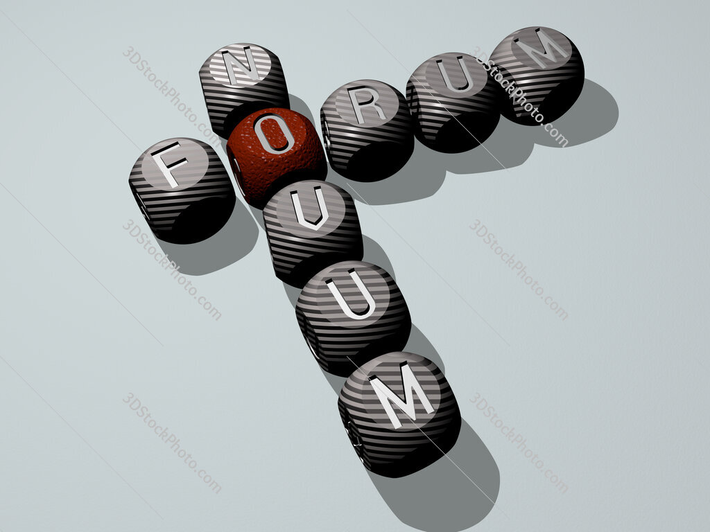 Forum Novum crossword of dice letters in color