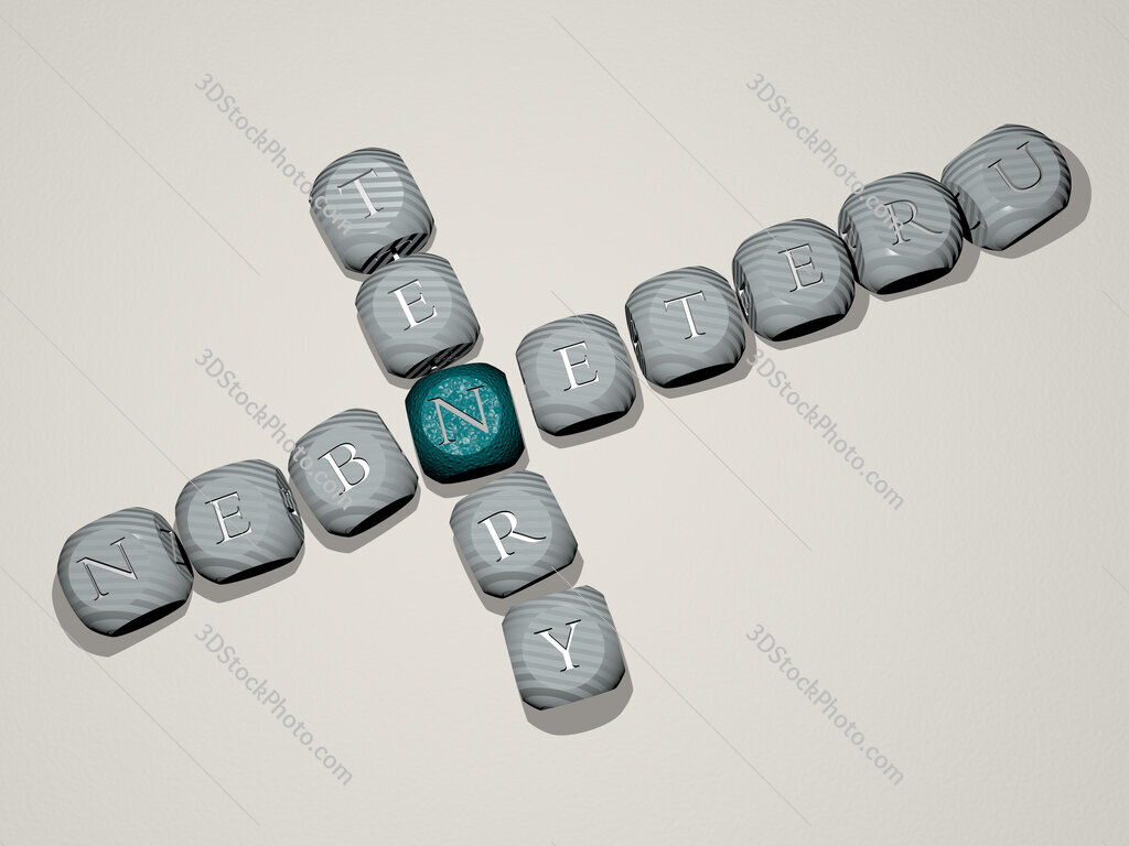 Nebneteru Tenry crossword of dice letters in color