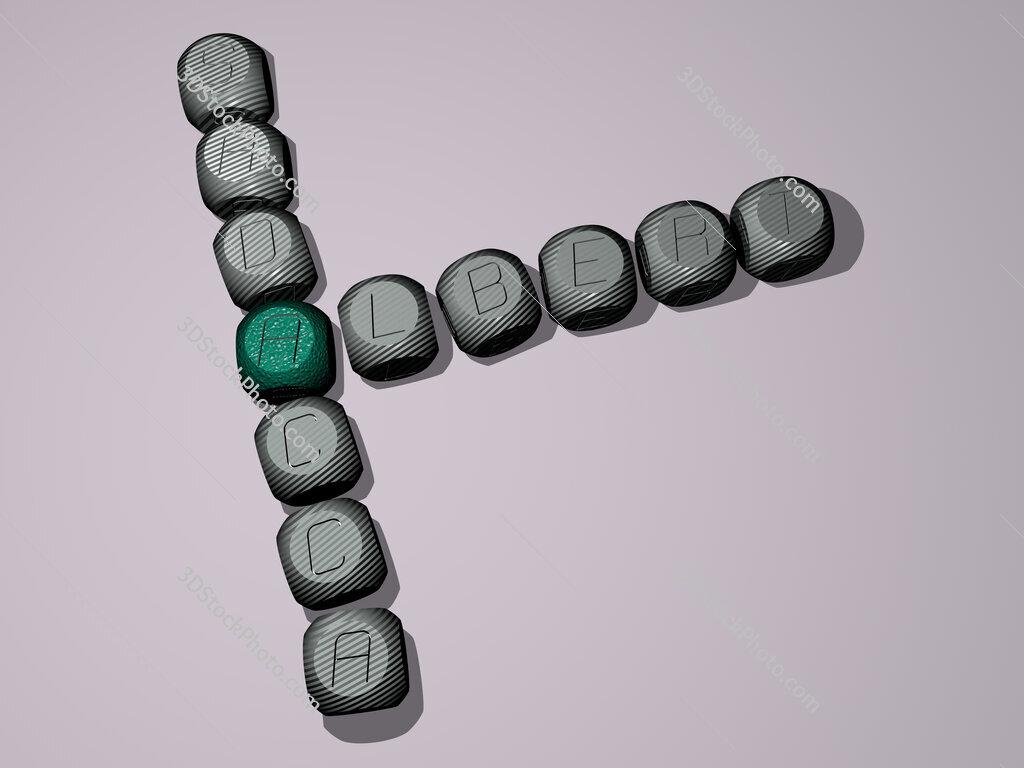 Albert Sadacca crossword of dice letters in color