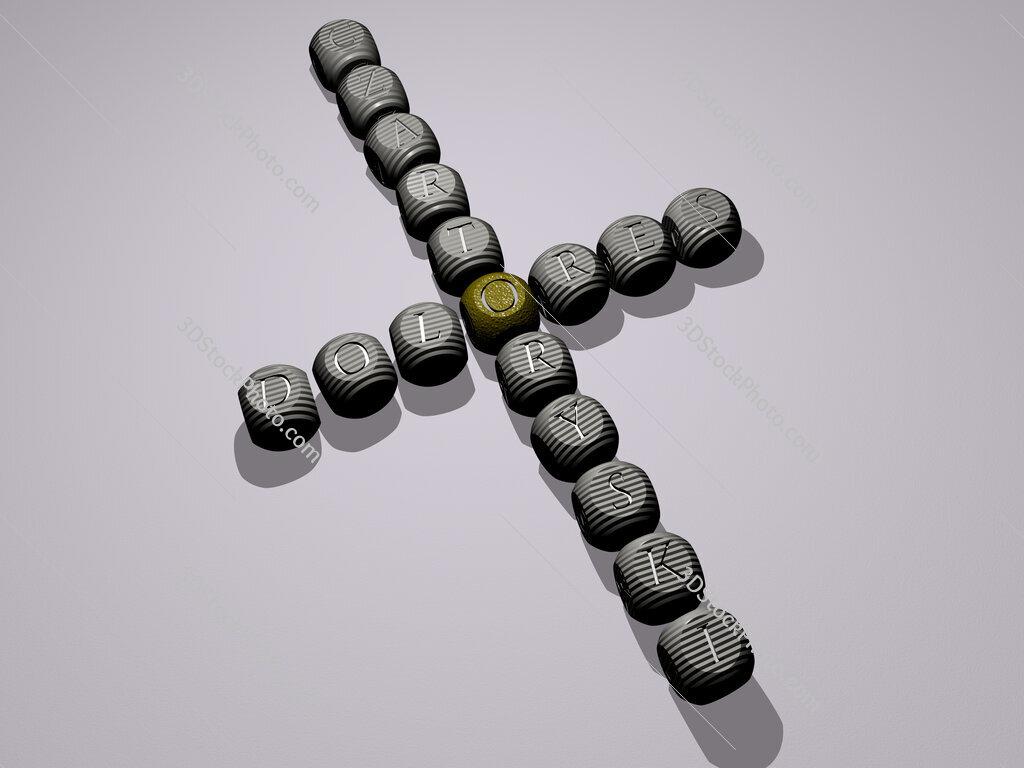 Dolores Czartoryski crossword of dice letters in color