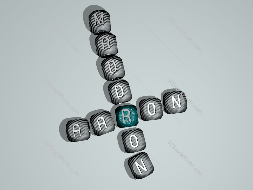 Aaron Maddron crossword of dice letters in color