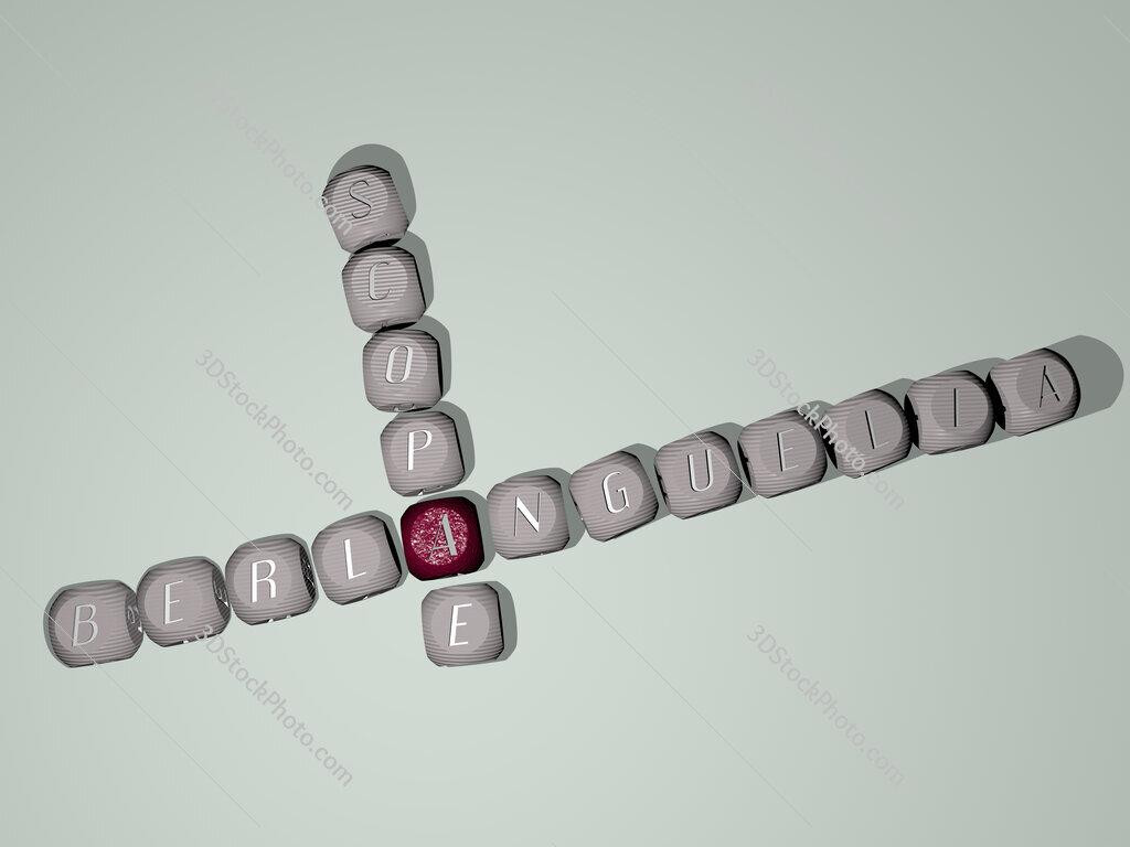 Berlanguella scopae crossword of dice letters in color