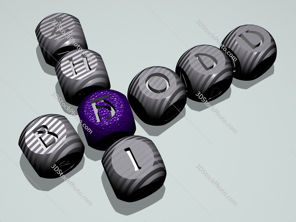 Baodu Zhai crossword of dice letters in color