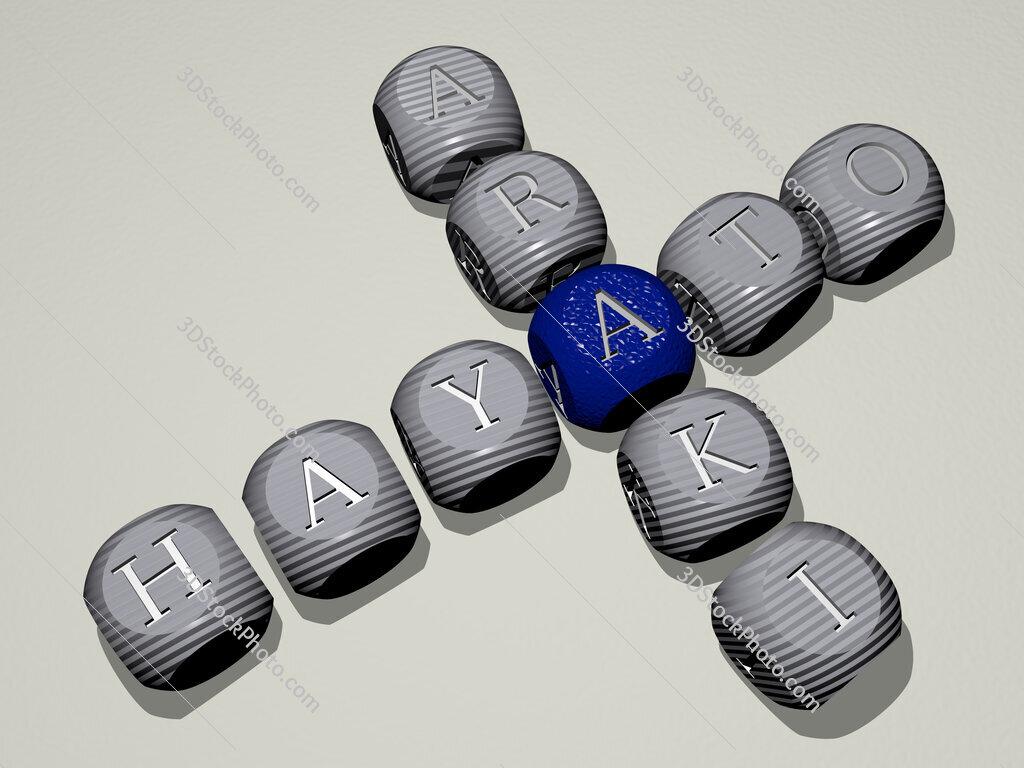 Hayato Araki crossword of dice letters in color
