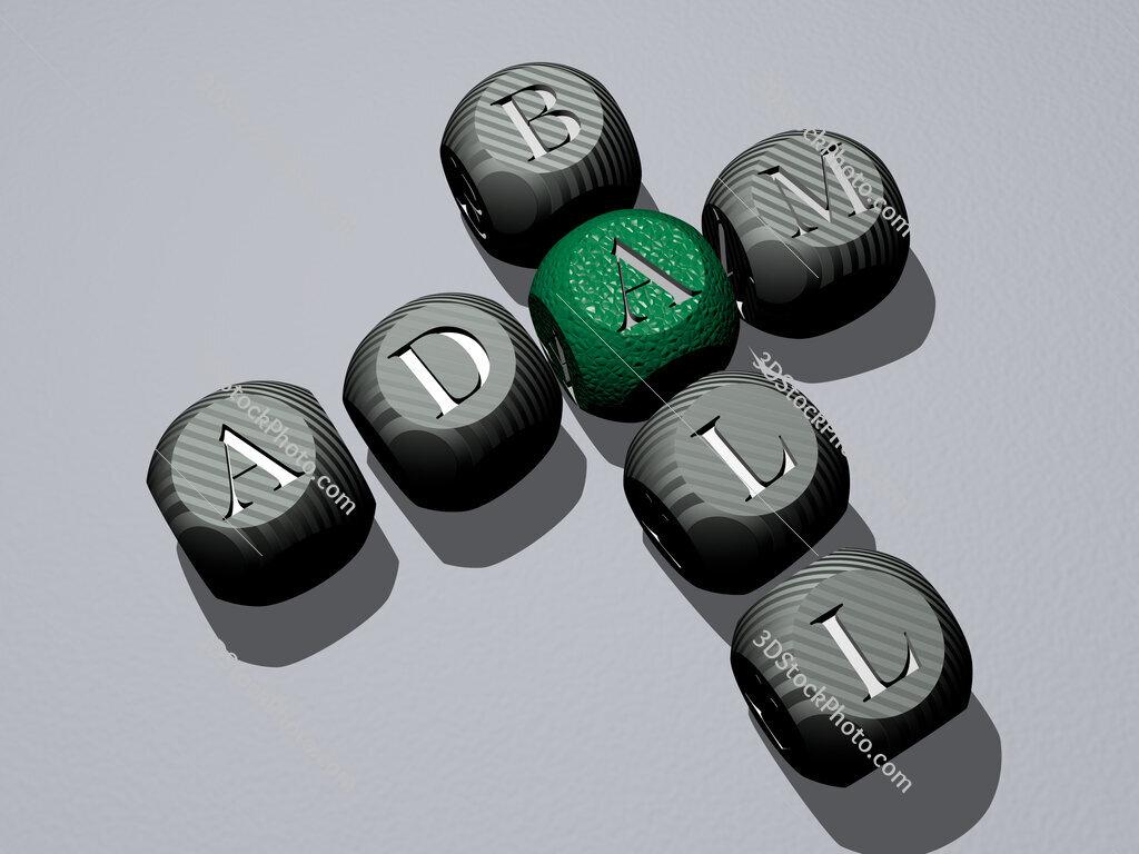 Adam Ball crossword of dice letters in color
