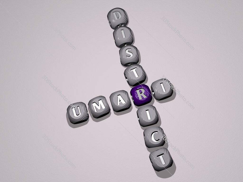 Umari District crossword of dice letters in color