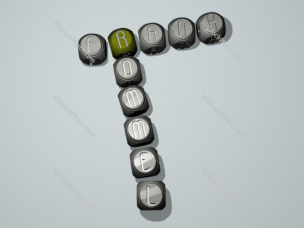 Frank Rommel crossword of dice letters in color