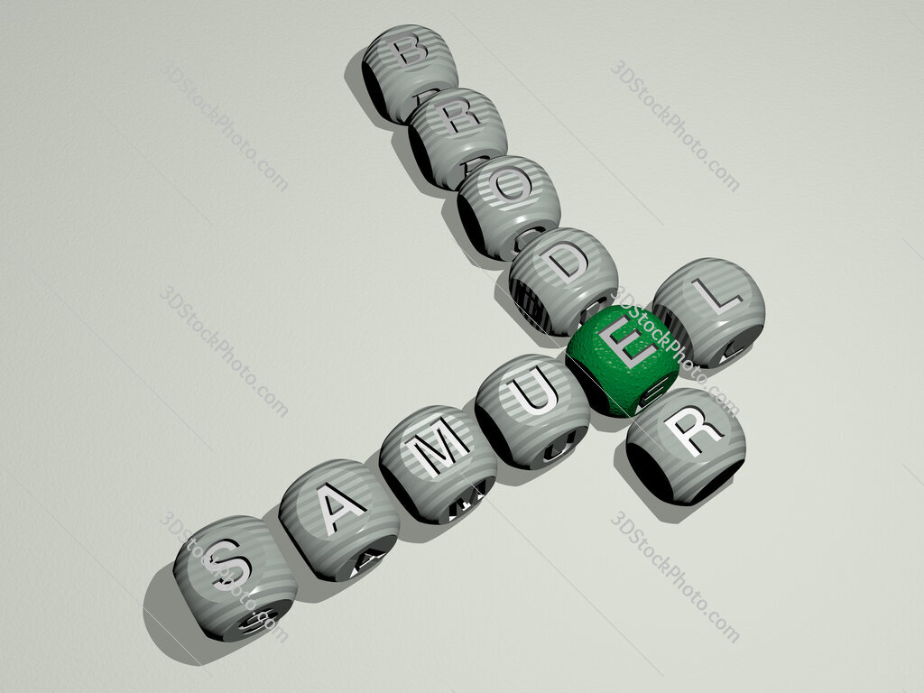 Samuel Broder crossword of dice letters in color