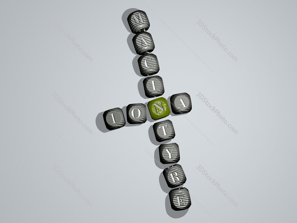 Iona Macintyre crossword of dice letters in color