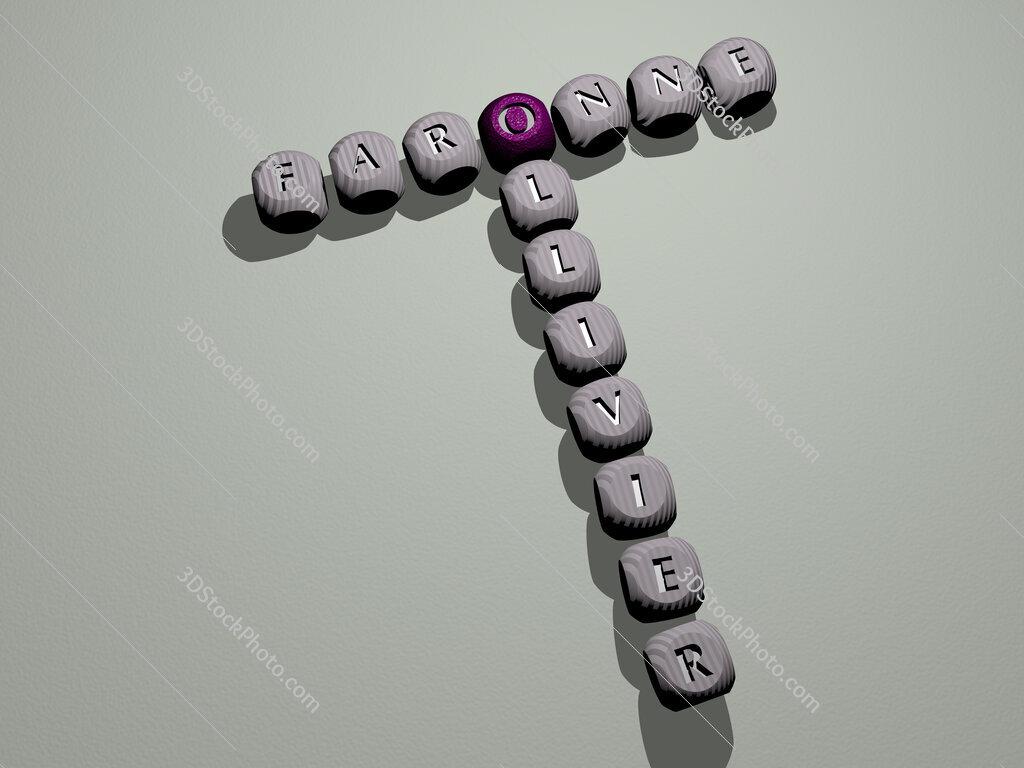 Faronne Ollivier crossword of dice letters in color