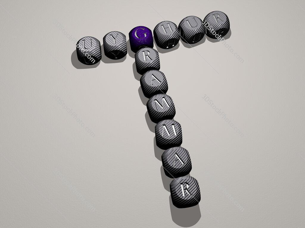 Uyghur grammar crossword of dice letters in color