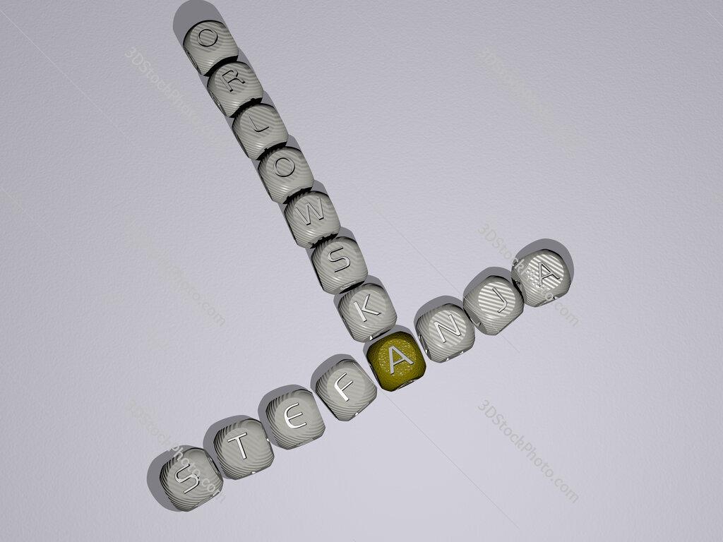 Stefanja Orlowska crossword of dice letters in color